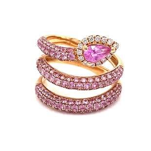 18k Pink Sapphire Diamond Snake Ring