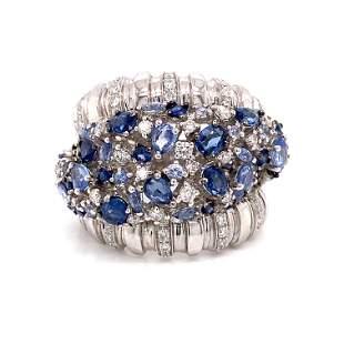 18k Diamond Sapphire Cocktail Ring