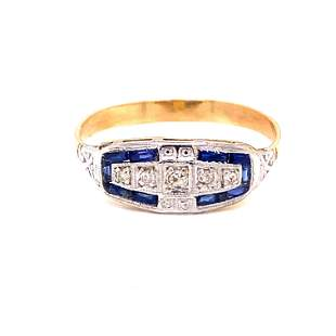 18k Platinum Art Deco Sapphire Diamond Ring