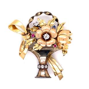 Art Deco 18k Flower Basket Brooch
