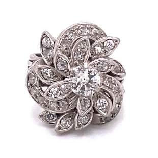 Retro Platinum Diamond Cocktail Ring