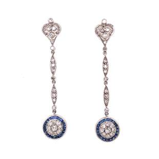 Platinum Art Deco Diamond Sapphire Halo Long Earrings