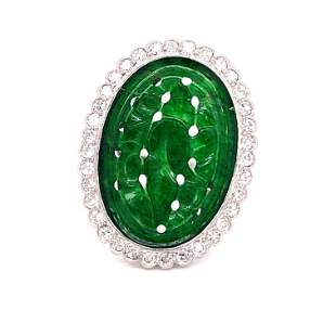 Platinum Jade Ring