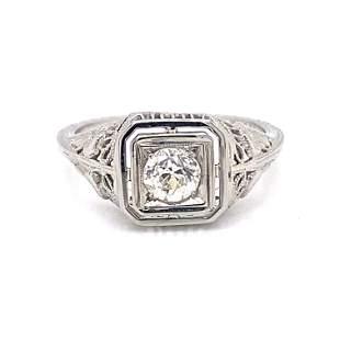 Art Deco Old Mine Diamond Engagement Ring