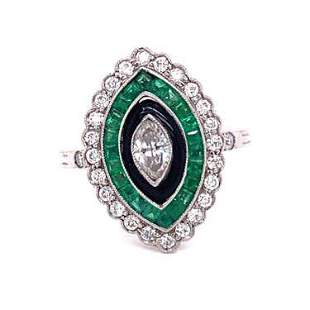 Platinum Diamond Sapphire Enamel Marquise Shaped Ring