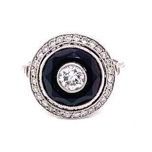 Platinum Diamond Onyx Round Ring