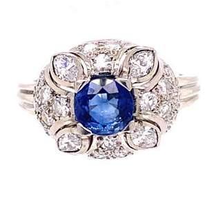 18k Diamond Sapphire Cluster Ring