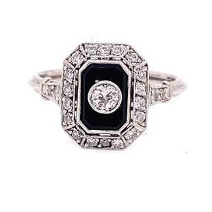 Art Deco Platinum Diamond Onyx Ring