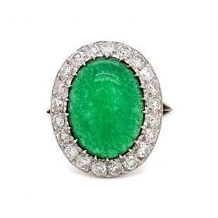 Platinum Jade Diamond Ring