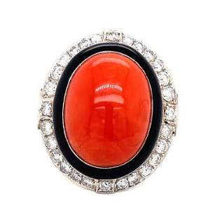 Platinum Coral Diamond Enamel Ring