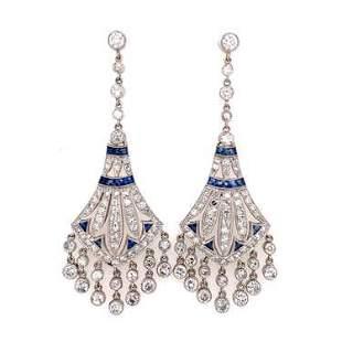 Platinum Diamond Sapphire Chandelier Earrings