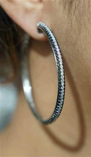 k White & Black Diamond Hoop Earrings