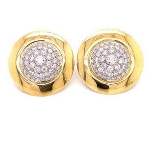 18k Diamond Pave Round Earrings