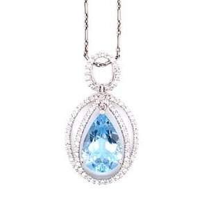 Platinum 18k Aquamarine Diamond Pendant