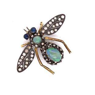Silver & Gold Opal Diamond Bug Brooch