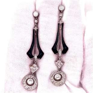 Platinum Enamel Diamond Earrings