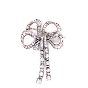 Art Deco Platinum Diamond Bow Brooch