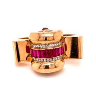 Retro Red Stone Diamond 18k Bangle Bracelet