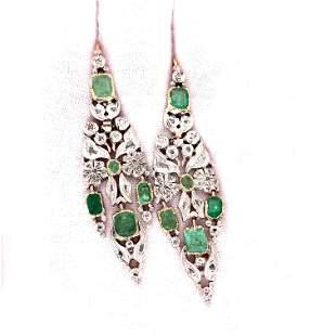 Georgian 15k Diamond Emerald Earrings
