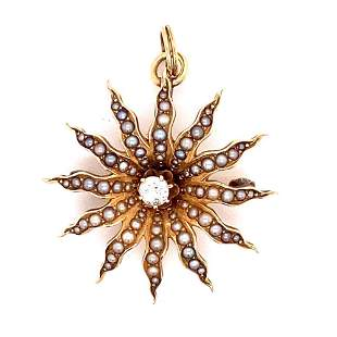 14K Victorian Pearl Diamond Pendant Broach
