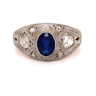 1920's Platinum 18k Sapphire Diamond Ring