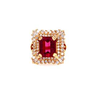 14k Gold, Diamonds & Tourmaline Ring Signed
