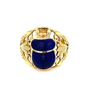 British 18K Egyptian Revival Scarab Ring