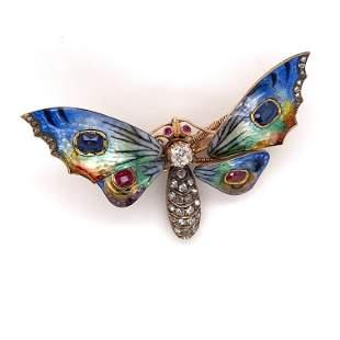 Victorian Tremblant 18k Sapphire Diamond Ruby Butterfly
