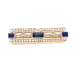 Platinum 18k Sapphire Pearl Diamond Brooch