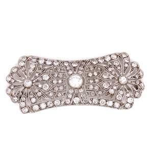 1920's Platinum Diamond Bar Brooch