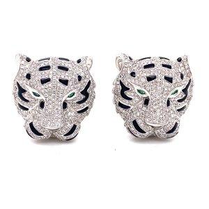 18k Diamond Enamel Tiger Earrings
