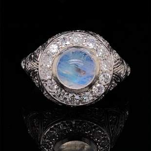 Edwardian Platinum Moonstone Diamond Ring