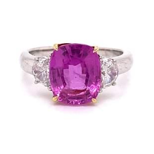 Platinum 18k GIA Pink Sapphire & Diamonds Ring