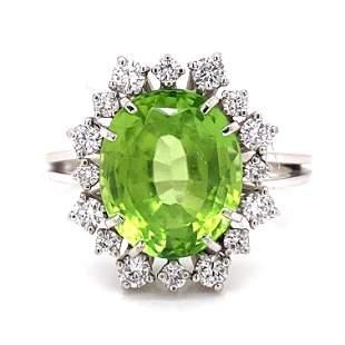 18k Peridot Diamond Ring