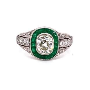 Platinum Diamond Emerald Target Engagement Ring