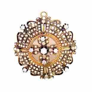 Victorian 14k Diamond Pearls Round Pendant & Brooch