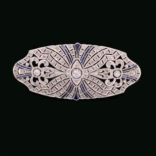 1930's 18k Diamond Sapphire Bar Brooch