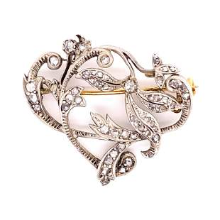 Victorian Gold & Silver Diamond Pendant Brooch
