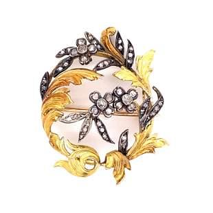 Art Nouveau 18k & Silver Diamond Brooch