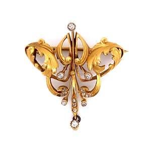 Art Nouveau 18k Diamond Brooch