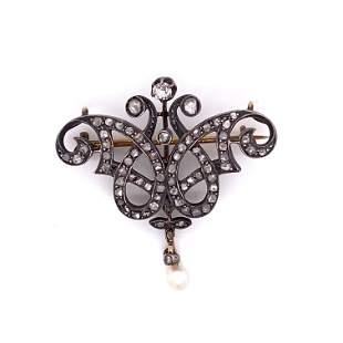 Art Nouveau Low Gold Diamond Pendant & Brooch