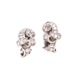 Retro Platinum Diamond Earring