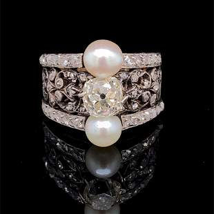 Art Nouveau 18k Platinum Diamond Pearl Ring