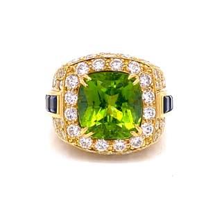 18K Peridot Sapphire Diamond Ring