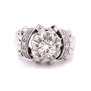 40's 18k Diamond Engagement Ring