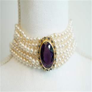 Victorian 14k Amethyst Diamond Sapphire Pearl