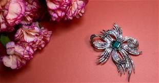 Platinum Retro Colombian Emerald Diamond BroochÊ