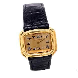 18k BOUCHERON PARIS Black Leather WristwatchÊ