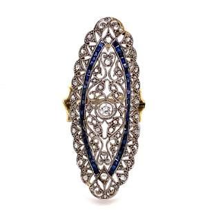 1920Õs Platinum & Gold Diamond Sapphire Long Ring