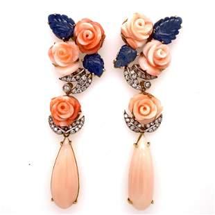 Art Deco 18k Rose Coral Sapphire Diamond Long EarringsÊ